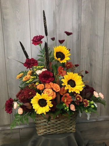 Harvest Sunflower Basket from Ginger's Flowers &Gifts, local Martinsburg florist