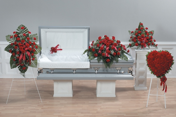 Red Carnation Casket Spray from Ginger's Flowers &Gifts, local Martinsburg florist