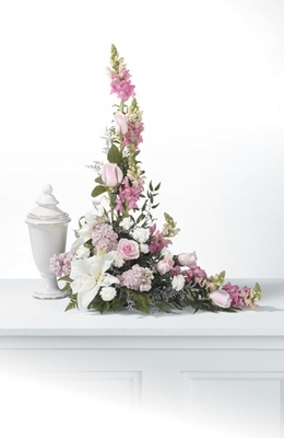 Pink Urn Arrangement from Ginger's Flowers &Gifts, local Martinsburg florist