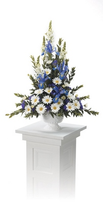 Blue and White Pedestal Arrangement  from Ginger's Flowers &Gifts, local Martinsburg florist